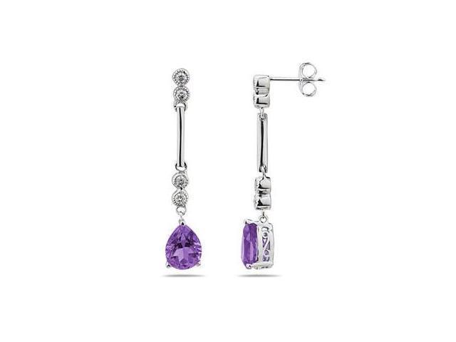 Amethyst  & Diamond Dangle Earrings in 14K White Gold