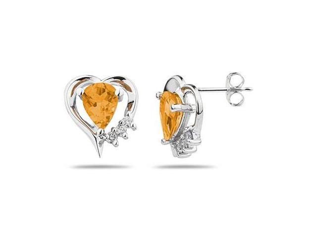 Pear Shaped   Citrine  & Diamond Heart Earrings