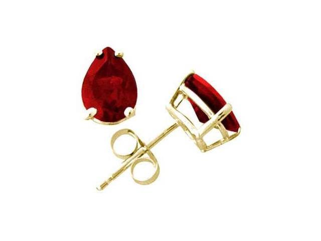 All-Natural Genuine 5x3 mm, Pear Shape Garnet earrings set in 14k Yellow gold