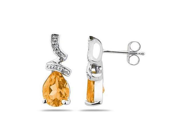 Pear Shaped  Citrine  and Diamond Earrings in White Gold
