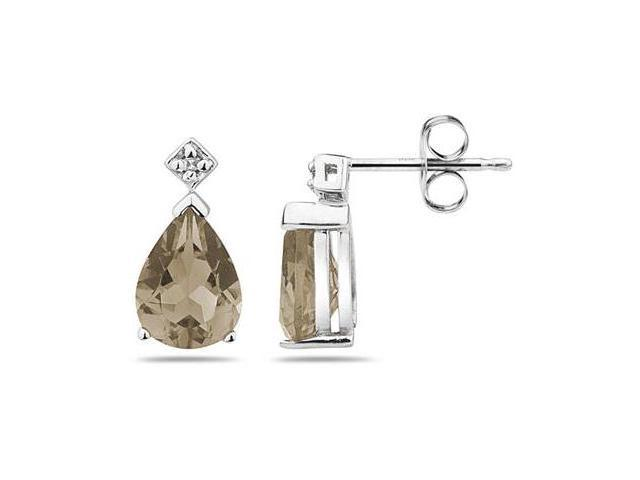 Pear Shaped  Smokey Quartz  & Diamond Earrings in White Gold