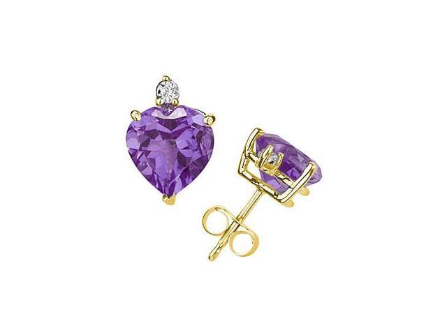 5mm Heart Amethyst and Diamond Stud Earrings in 14K Yellow Gold