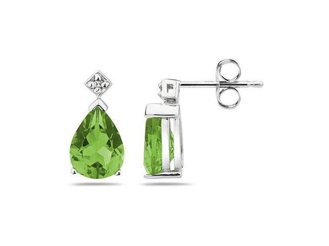Pear Shaped Peridot & Diamond Earrings in White Gold