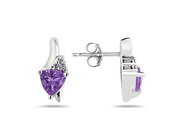 Trillion Shaped Amethyst and Diamond Earrings in 14K White Gold