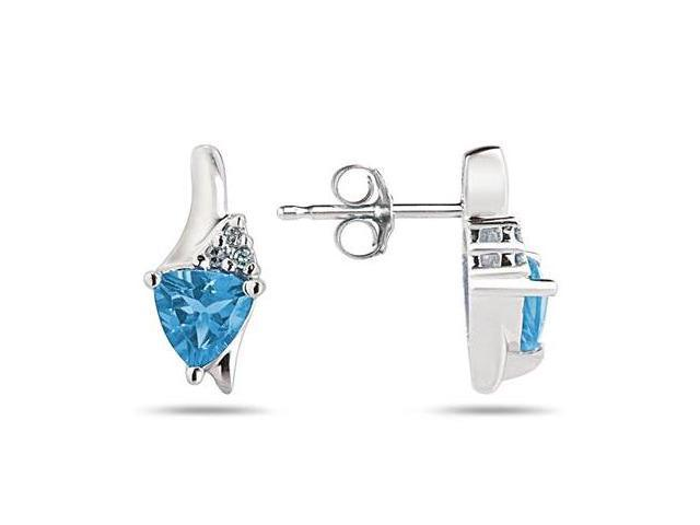 Trillion Shaped Blue Topaz and Diamond Earrings in 14K White Gold