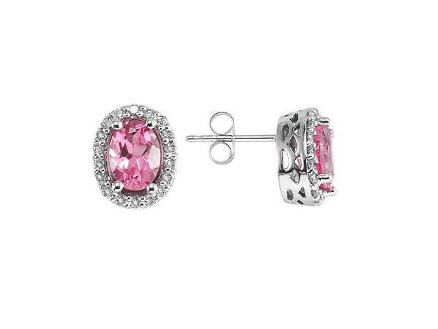 Oval Pink Topaz and Diamond Earrings in 14K White Gold