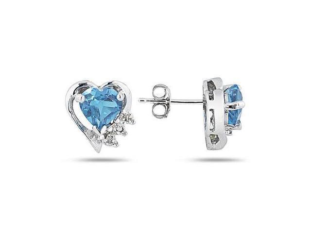 Blue Topaz and Diamond Heart Earrings in White Gold