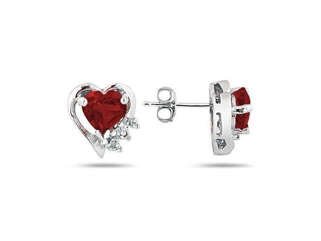 Garnet and Diamond Heart Earrings in White Gold