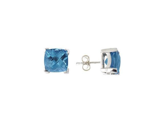 Cushion Cut Blue Topaz Earrings 14K White Gold