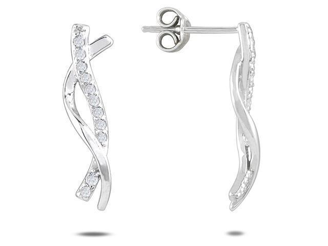 1/4 Carat TW Diamond Twist Earrings Set in 10K White Gold