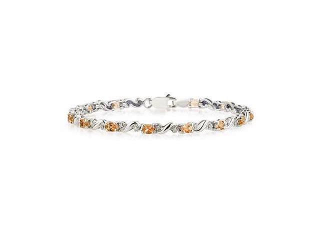 10k White Gold Diamond and  Citrine   Bracelet
