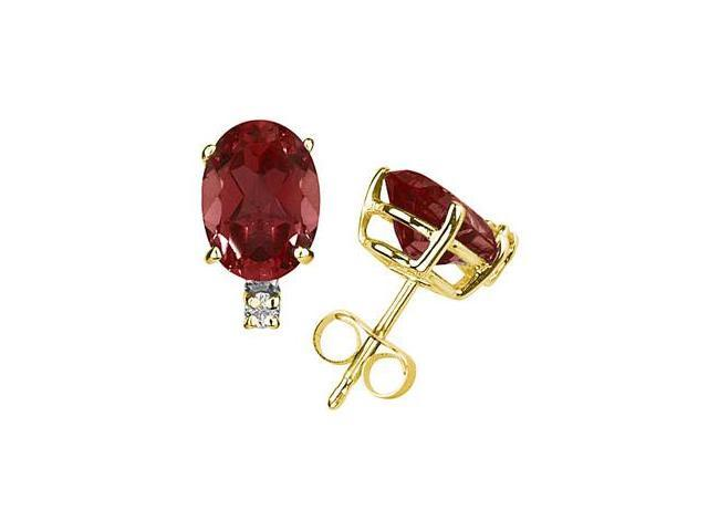 6X4mm Oval Garnet and Diamond Stud Earrings in 14K Yellow Gold
