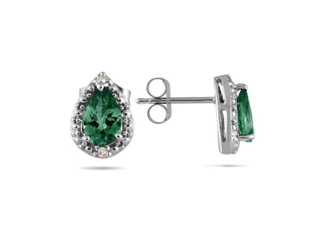 Pear Shape Emerald and Diamond Flower Earrings