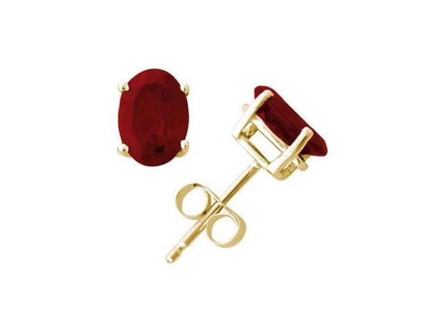 All-Natural Genuine 8x6 mm, Oval Ruby earrings set in 14k Yellow gold