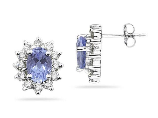 7X5mm Oval Shaped Tanzanite and Diamond Flower Earrings in 14k White Gold