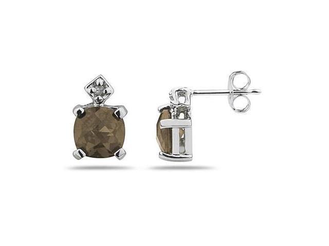 1.20CTW  Smokey Quartz & Diamond Earrings in White Gold