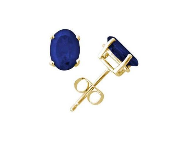 All-Natural Genuine 7x5 mm, Oval Sapphire earrings set in 14k Yellow gold