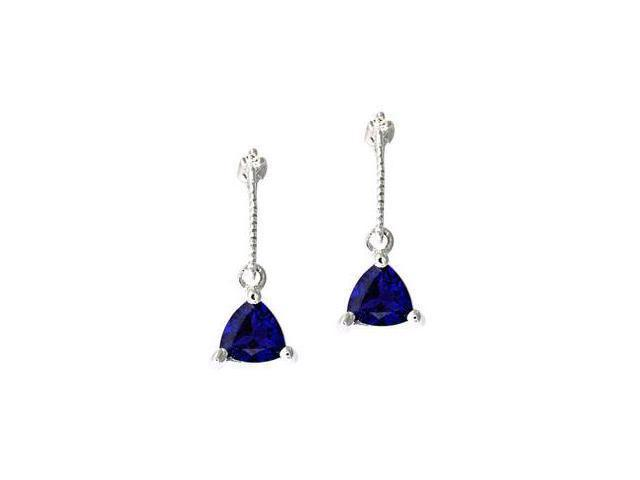 Diamond and Trillion shaped Sapphire Earring 14k White Gold