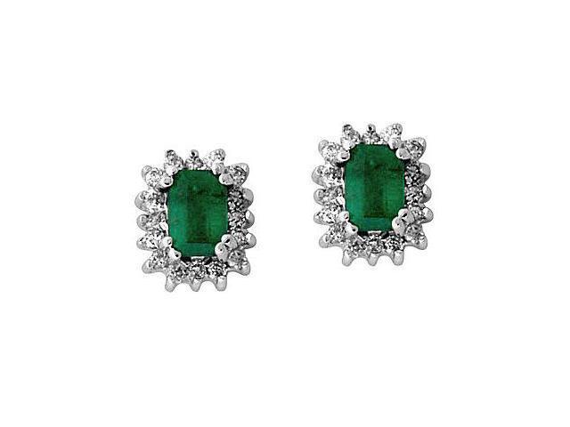 Emerald and Diamond Flower Earrings in 14kt White Gold
