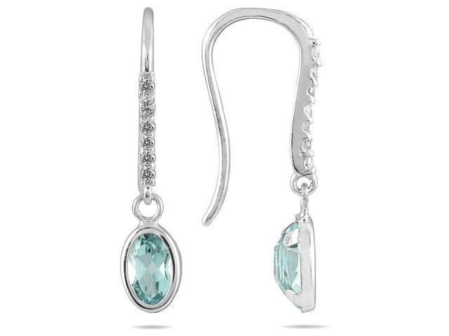 1 1/5 Carat Bezel Set Oval Aquamarine and Diamond Earrings in 10K White Gold