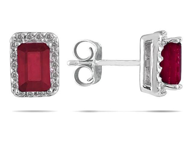 1 1/4 Carat Ruby and Diamond Earrings in 14K White Gold