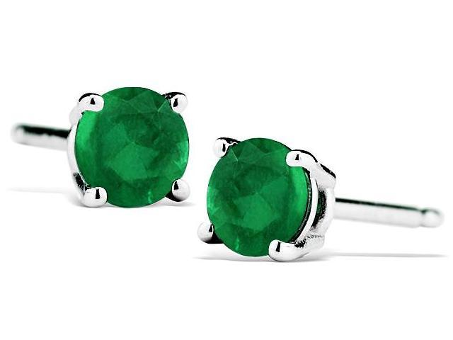 1/2 Carat Natural 4MM Emerald Stud Earrings in .925 Sterling Silver