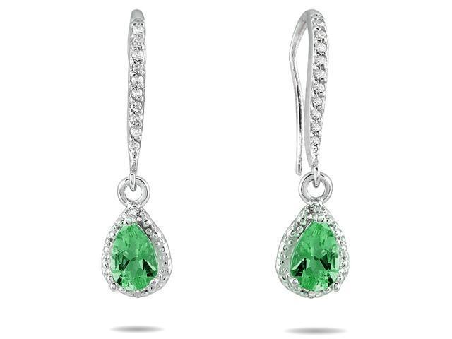 Emerald and Diamond Dangle Earrings in 10K White Gold
