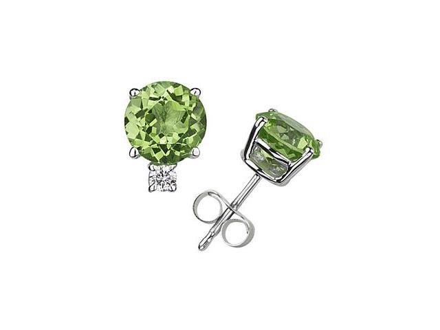 9mm Round Peridot and Diamond Stud Earrings in 14K White Gold