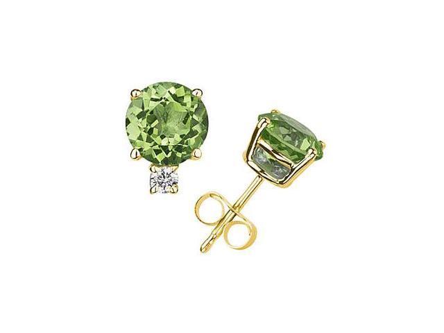 9mm Round Peridot and Diamond Stud Earrings in 14K Yellow Gold
