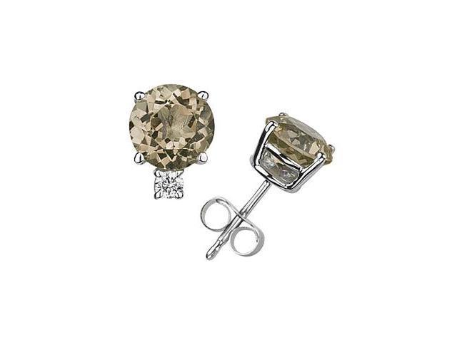 9mm Round Smokey Quartz and Diamond Stud Earrings in 14K White Gold