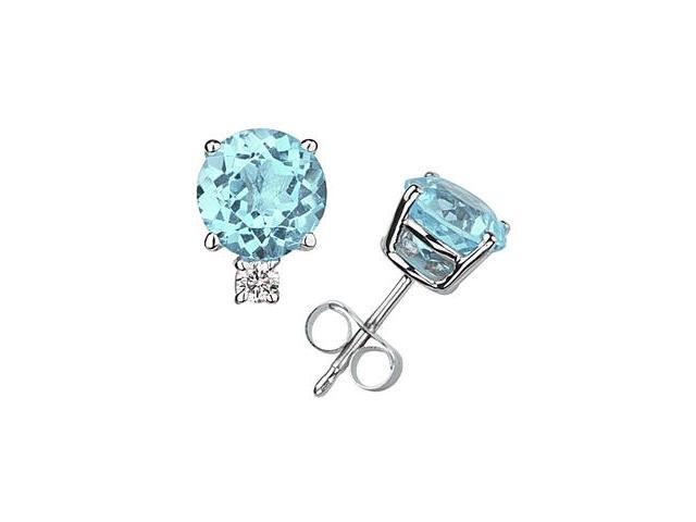 8mm Round Aquamarine and Diamond Stud Earrings in 14K White Gold