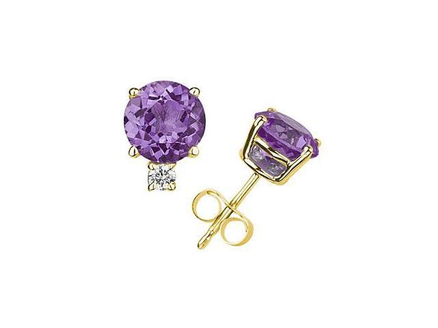 7mm Round Amethyst and Diamond Stud Earrings in 14K Yellow Gold