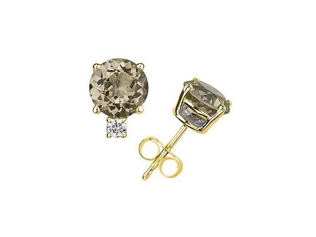 6mm Round Smokey Quartz and Diamond Stud Earrings in 14K Yellow Gold