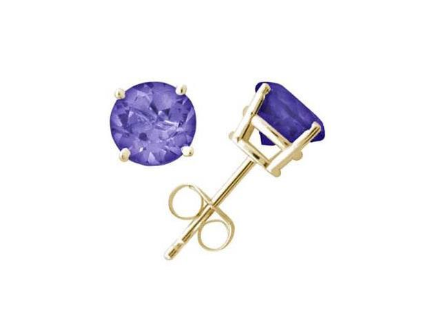 All-Natural Genuine 6 mm, Round Tanzanite earrings set in 14k Yellow gold