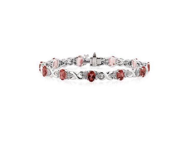 14k White Gold Diamond and  Garnet  Bracelet