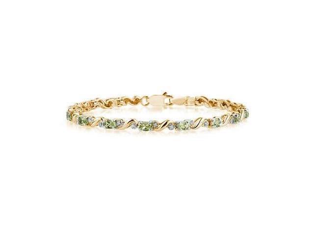 10k Yellow  Gold Diamond and   Peridot Bracelet