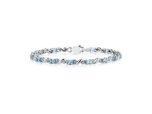10k White Gold Diamond and Blue Topaz Bracelet