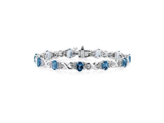 14k White Gold Diamond and Sapphire Bracelet