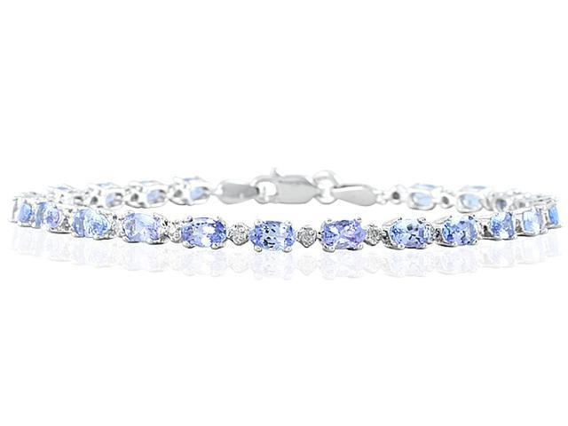5.30 Carat TW Tanzanite and Diamond Bracelet in 10K White Gold