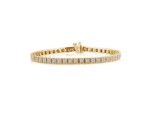 Yellow  Gold  Traditional Square Diamond Bracelet