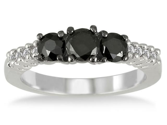 1.10 Carat T.W Black and White Diamond Three Stone Ring in .925 Sterling Silver