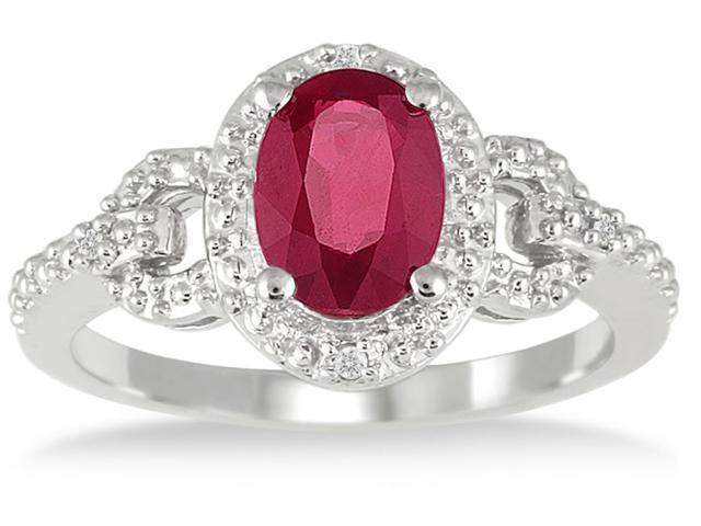 8x6 Created Ruby and Diamond Ring in .925 Sterling Silver