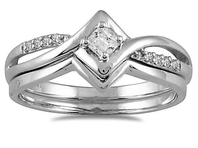 1/6 CTW Diamond Bridal Set in 10K White Gold