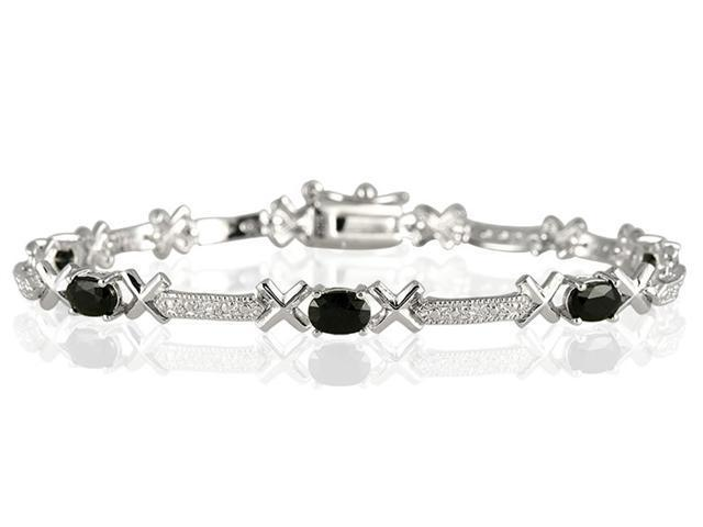 Sapphire and Diamond X Link Bracelet in .925 Sterling Silver