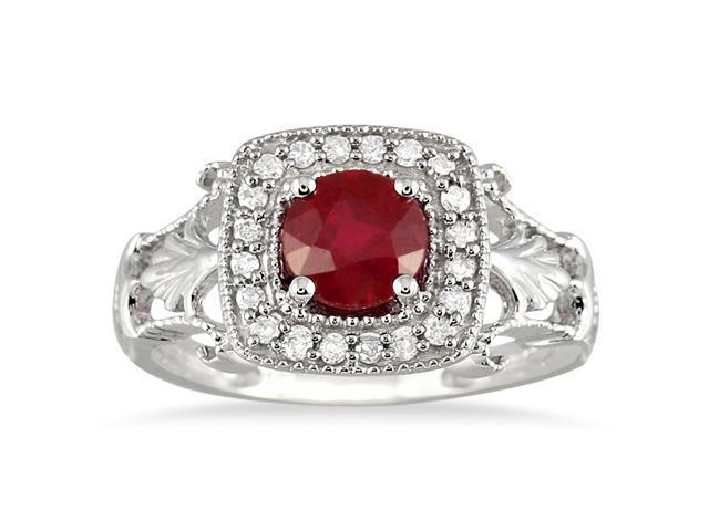 1.00 Carat Ruby and Diamond Antique Halo Ring in 10K White Gold
