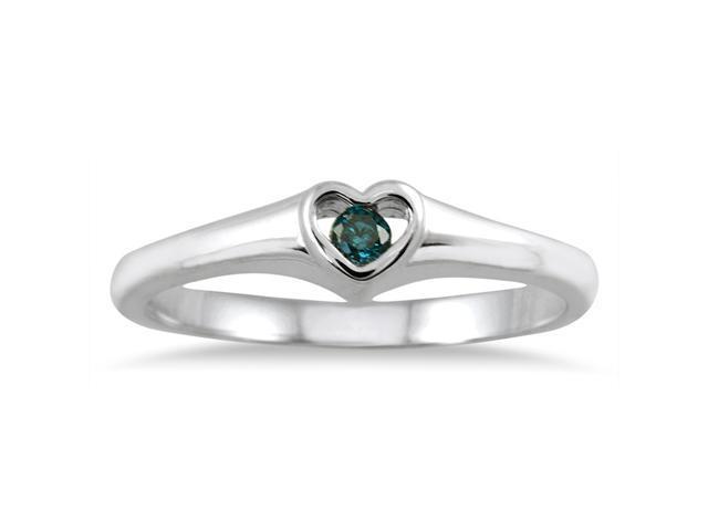 Blue Diamond Heart Ring in 14K White Gold