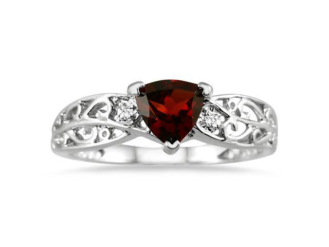 Trillion Cut Garnet and Diamond Ring in 14K White Gold