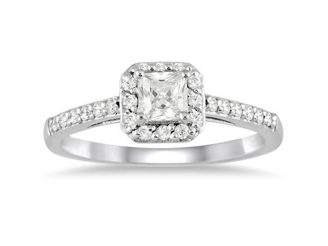 1/2 carat Princess Halo Engagement Ring in 10K White Gold