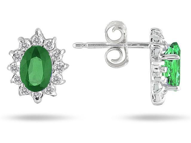 Emerald and Diamond Flower Earrings in 10K White Gold