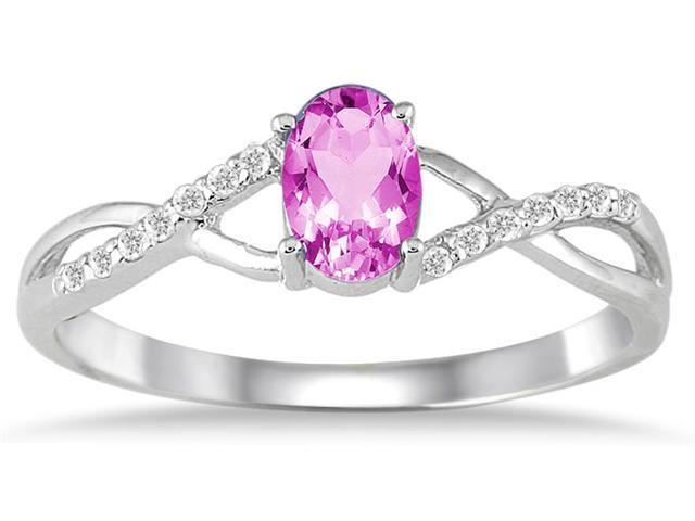 PinkTopaz and Diamond Twist Ring in 10K White Gold